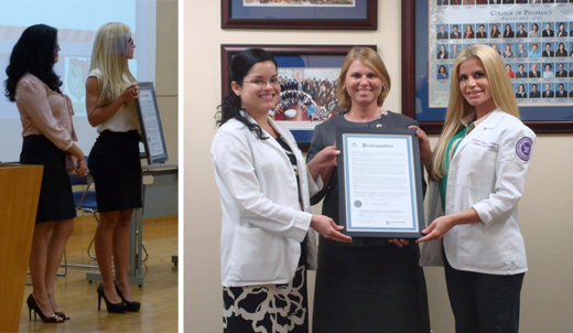 College of Pharmacy Students Secure Proclamation from Florida State Senator, Eleanor Sobel